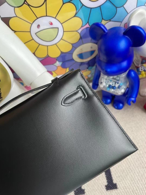 愛馬仕迷你凱莉包價格 Hermes MiniKelly Pochette Box CK89 Noir黑色银扣