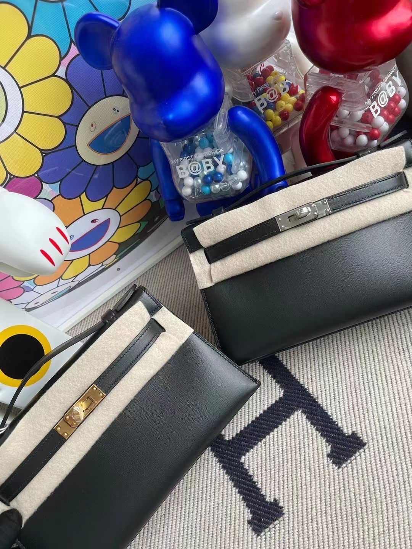 Hermes MiniKelly Pochette Box CK89 Noir 黑色 金扣全手工蜜蠟線縫製