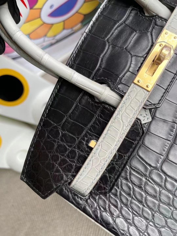 Hermes Birkin 25cm HSS美洲鱷魚89 Noir黑色 80 Gris Perle珍珠灰磨砂金扣