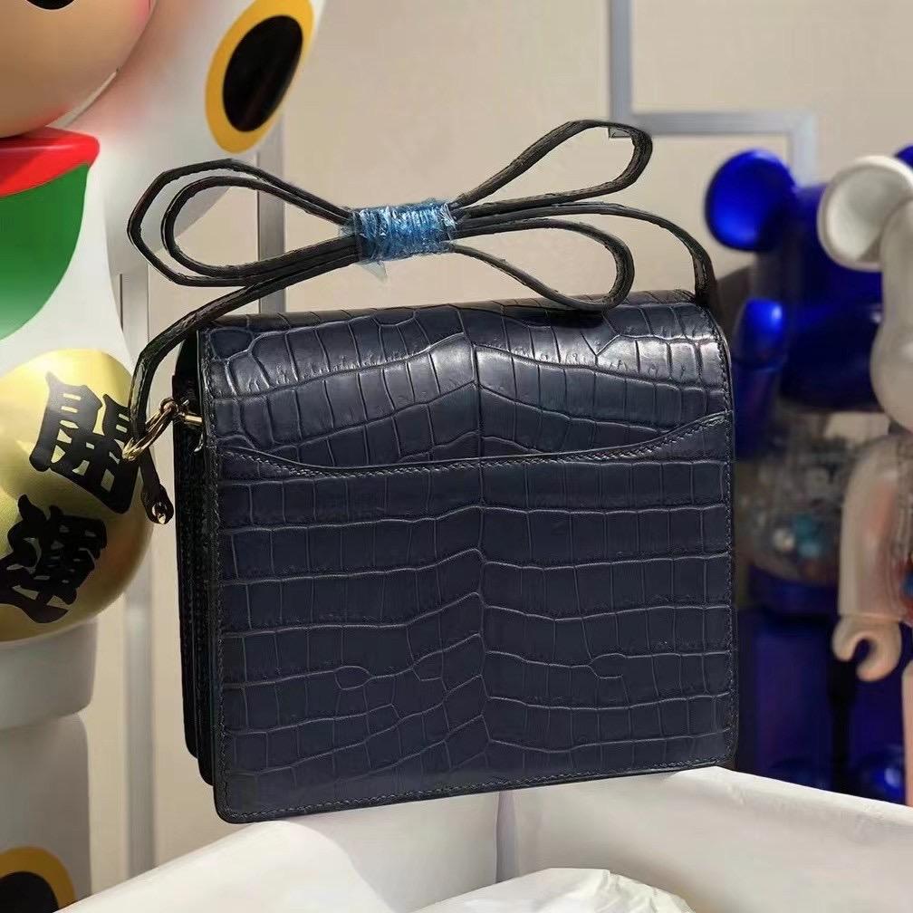 Hermes Roulis Mini 7L Blue de 馬耳他藍拼76 blue indgo深海藍金扣