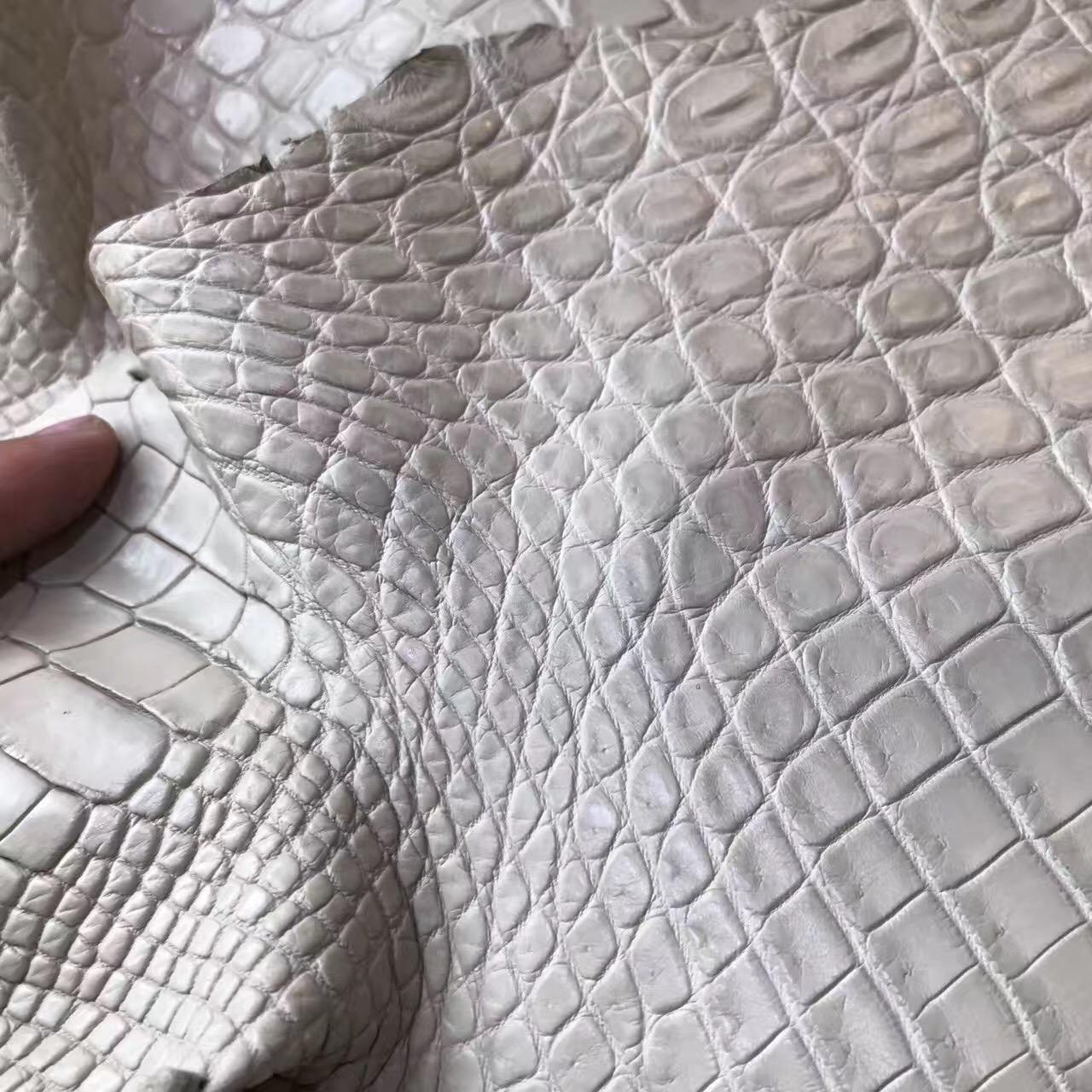 愛馬仕鱷魚皮光面 birkin 30 8L 霧面鱷魚奶油白