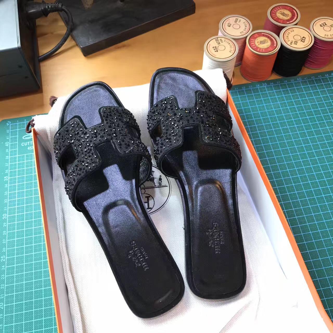 愛馬仕Hermes 經典款女士涼鞋 H型拖鞋黑鉆亮晶晶平底涼拖鞋