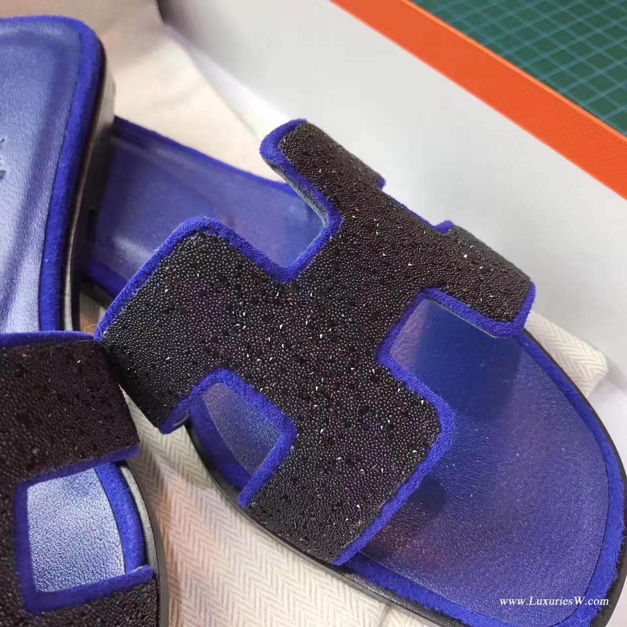 愛馬仕Hermes 經典款女士涼鞋 H型拖鞋電光藍亮晶晶 平底涼拖鞋
