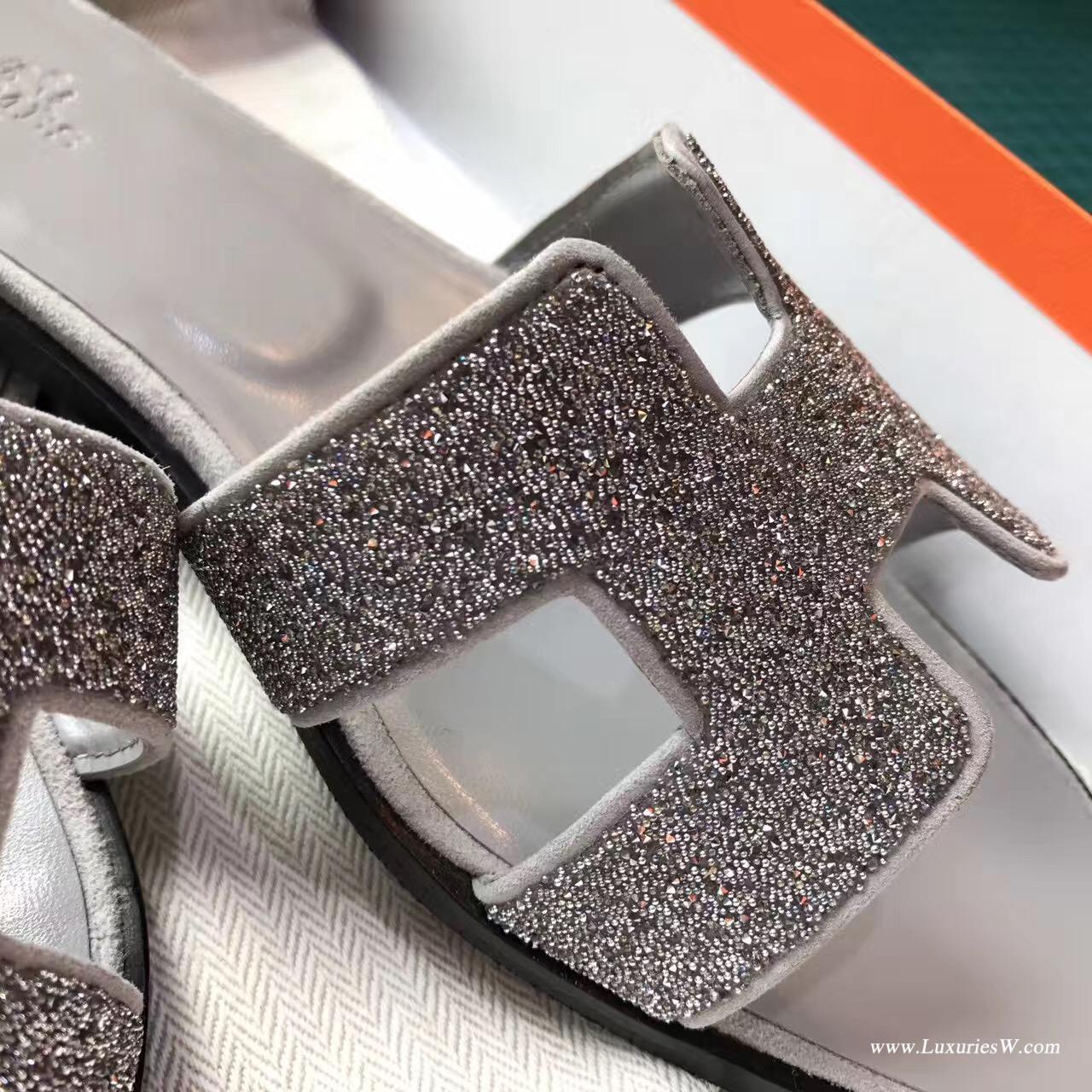愛馬仕Hermes 經典款輕熟女涼鞋 H型拖鞋 大象灰亮晶晶中 平底涼拖鞋