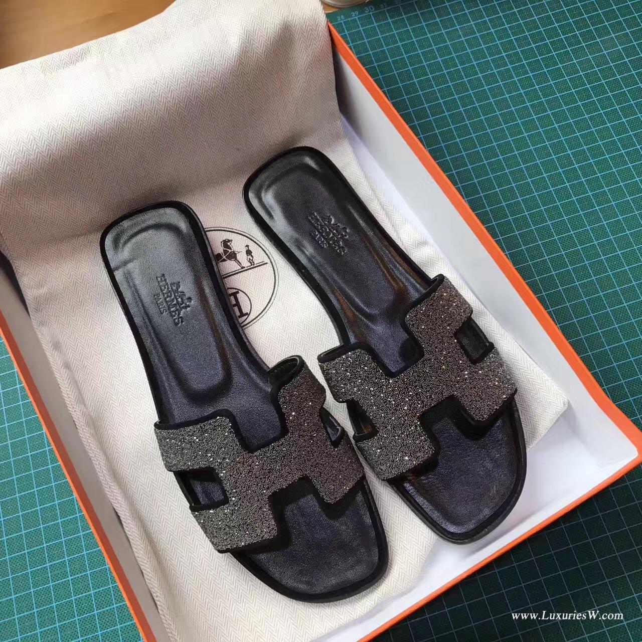 愛馬仕Hermes 經典款女士涼鞋 H型拖鞋 黑色鉆 亮晶晶中跟 平底涼拖鞋