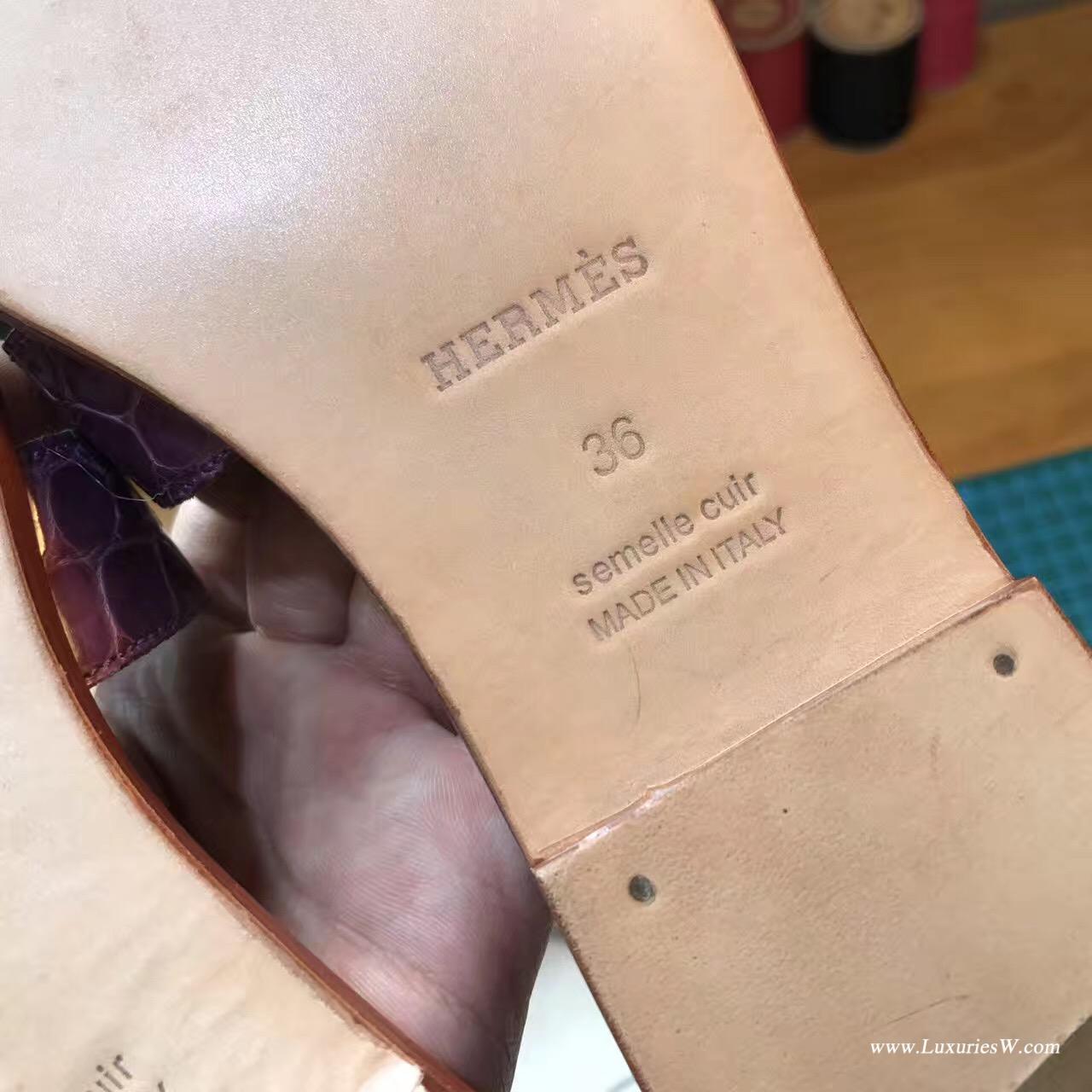 愛馬仕Hermes女士涼鞋 H型拖鞋鱷魚光面CK59 Raisin 葡萄紫色平底涼拖鞋