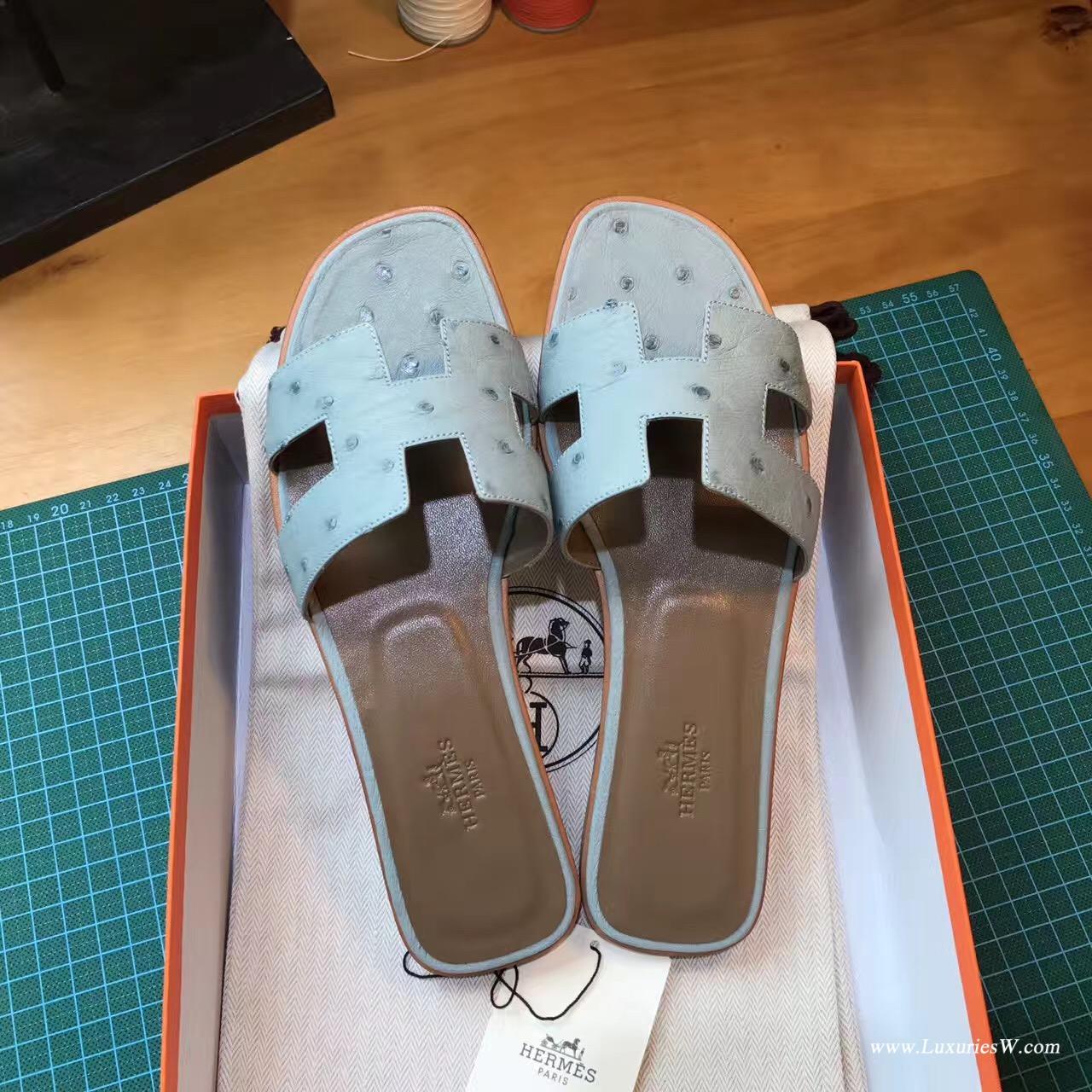愛馬仕Hermes女士涼鞋 H型拖鞋 鴕鳥皮 3P Blue Atoll 馬卡龍藍平底涼拖鞋
