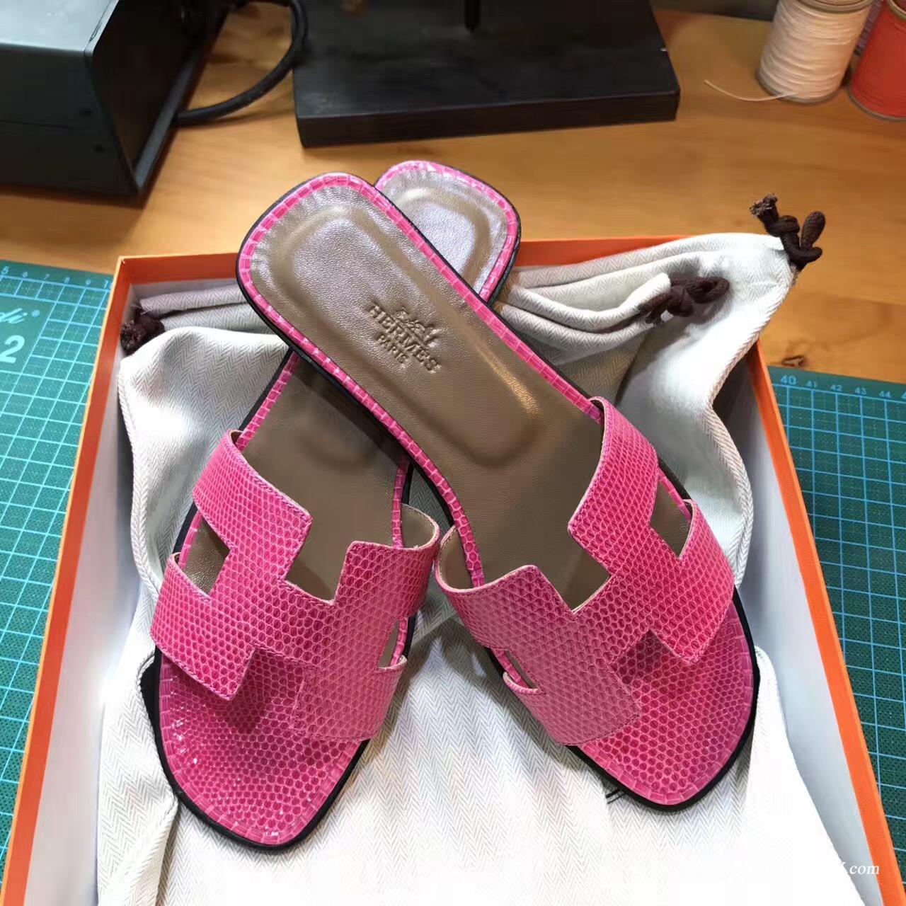 Hermes女士涼鞋 H型拖鞋蜥蜴皮 E5 Rose Tyrien糖果粉色 中跟 平底涼拖鞋