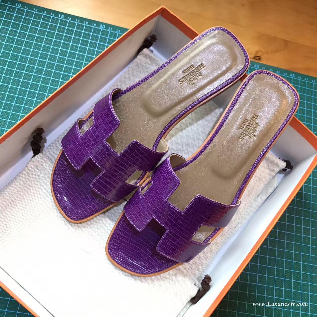 愛馬仕Hermes女士涼鞋 H型拖鞋蜥蜴皮9W Crocus 夢幻紫色平底涼拖鞋