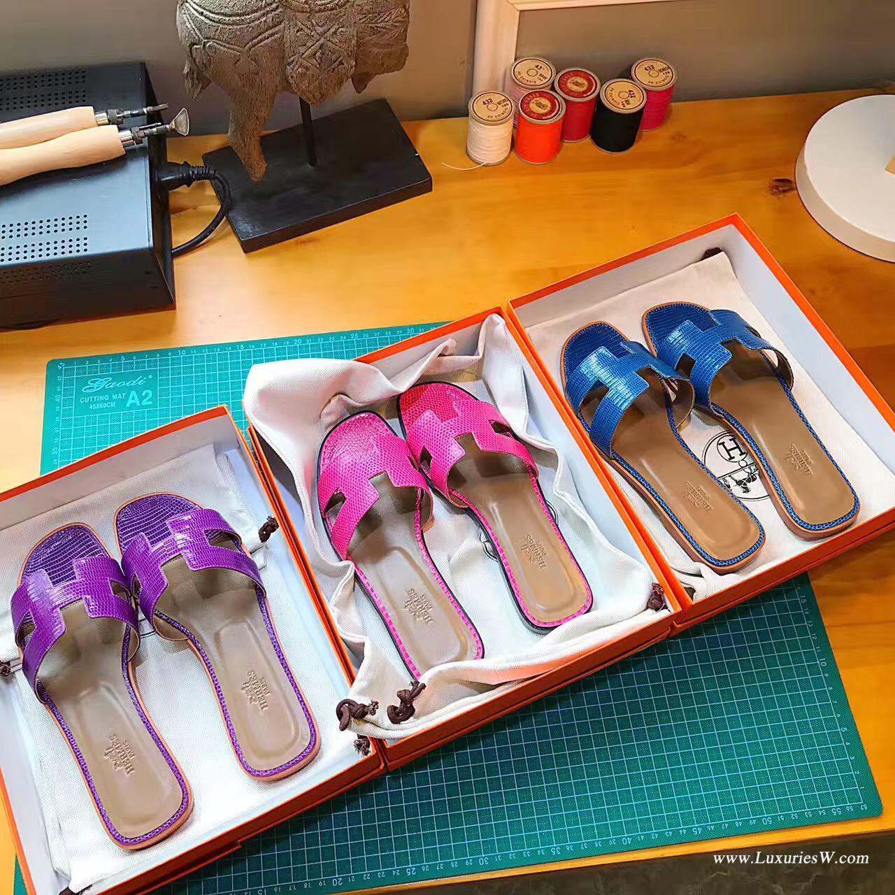 愛馬仕Hermes女士涼鞋 H型拖鞋蜥蜴皮 7C Cobalt珊瑚藍 平底涼拖鞋