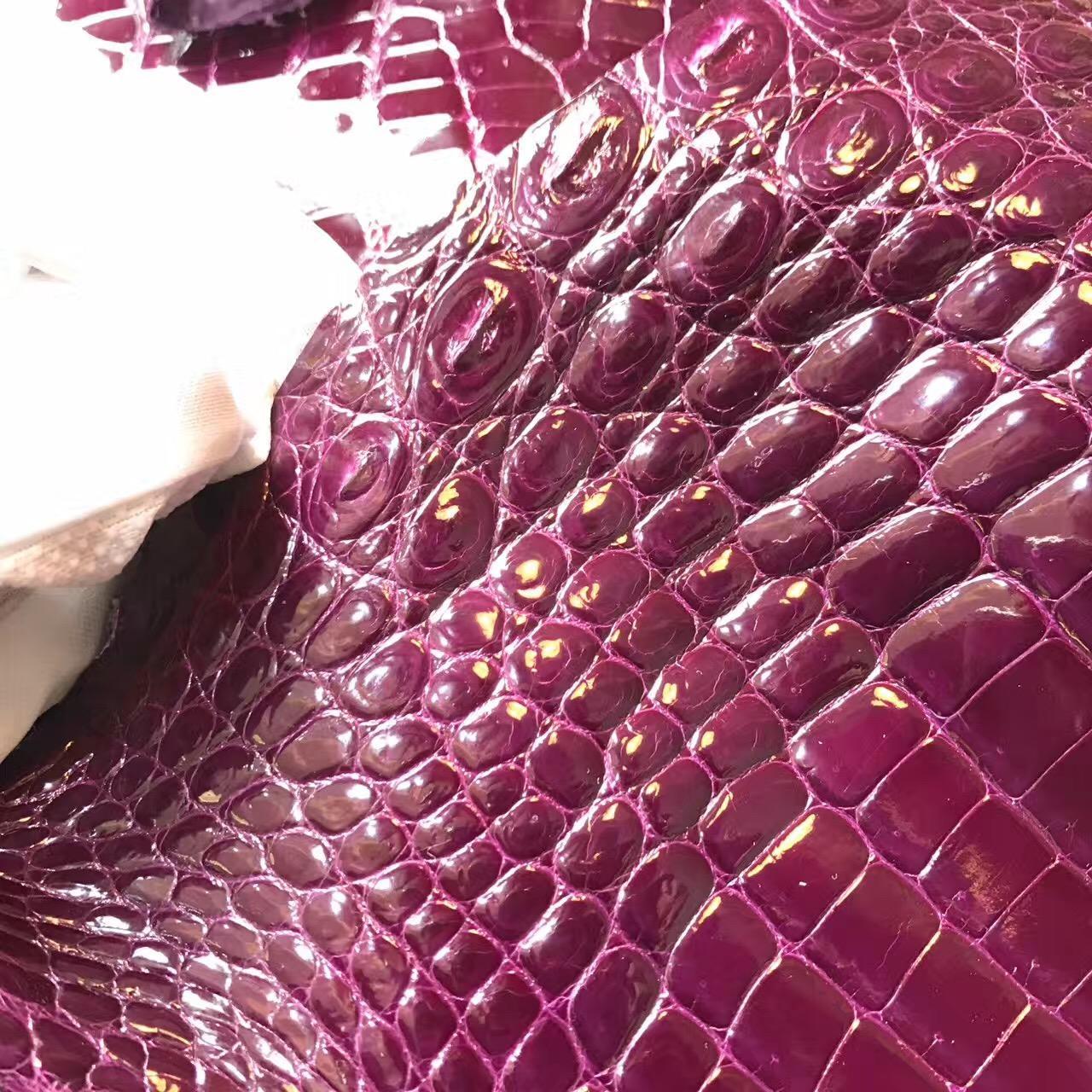 愛馬仕鱷魚皮光面 5L 葡萄紫 加侖紫光面鱷魚皮料Mini Birkin kelly
