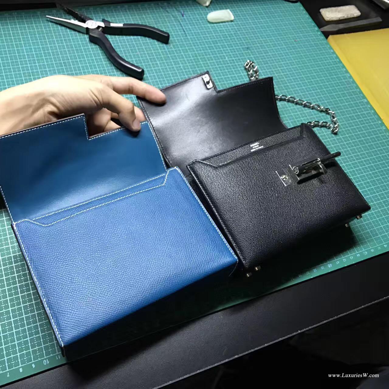 Hermes黑色山羊皮 verrou系列手包 打版做工流程 走線圖
