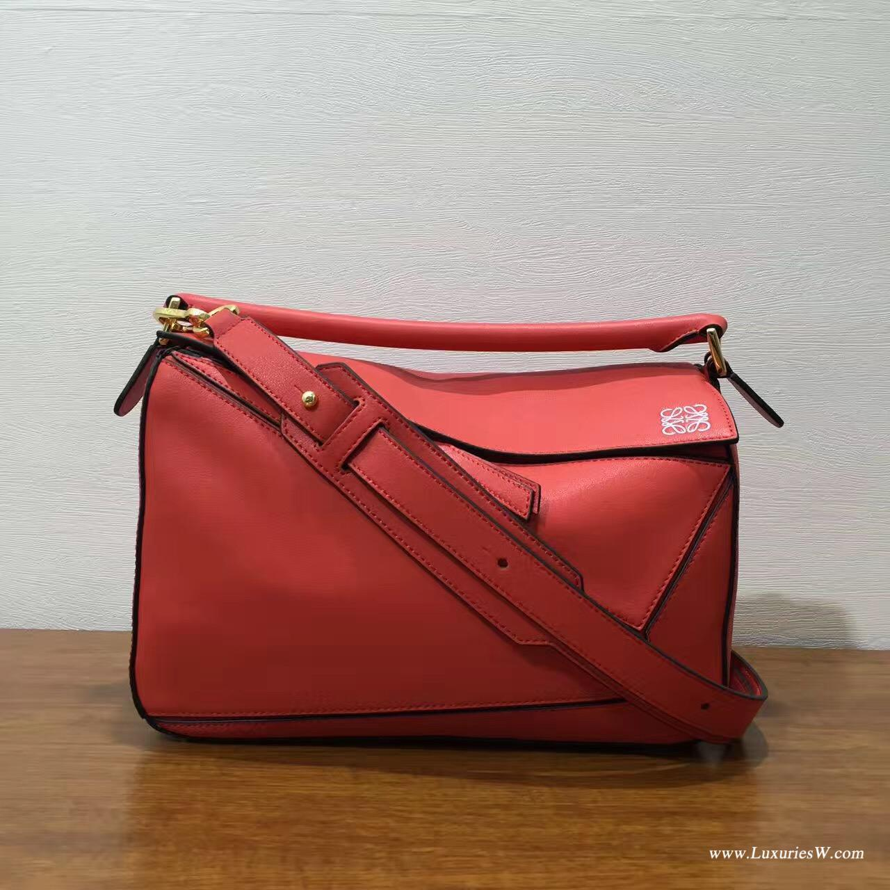 羅意威LOEWE包包 中號 Puzzle Bag  橘红色 30cm 折疊單肩手提幾何包