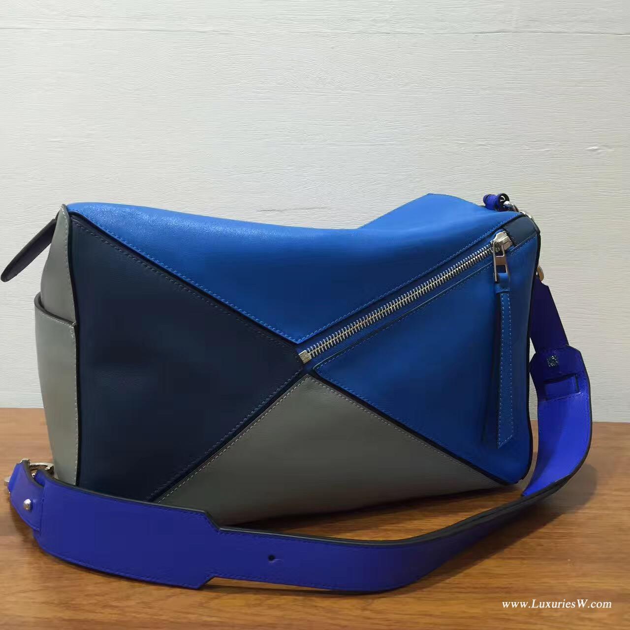 羅意威女包官網 LOEWE特大號 Puzzle Bag 深蓝色配灰色38cm 長方體形狀 折疊幾何包
