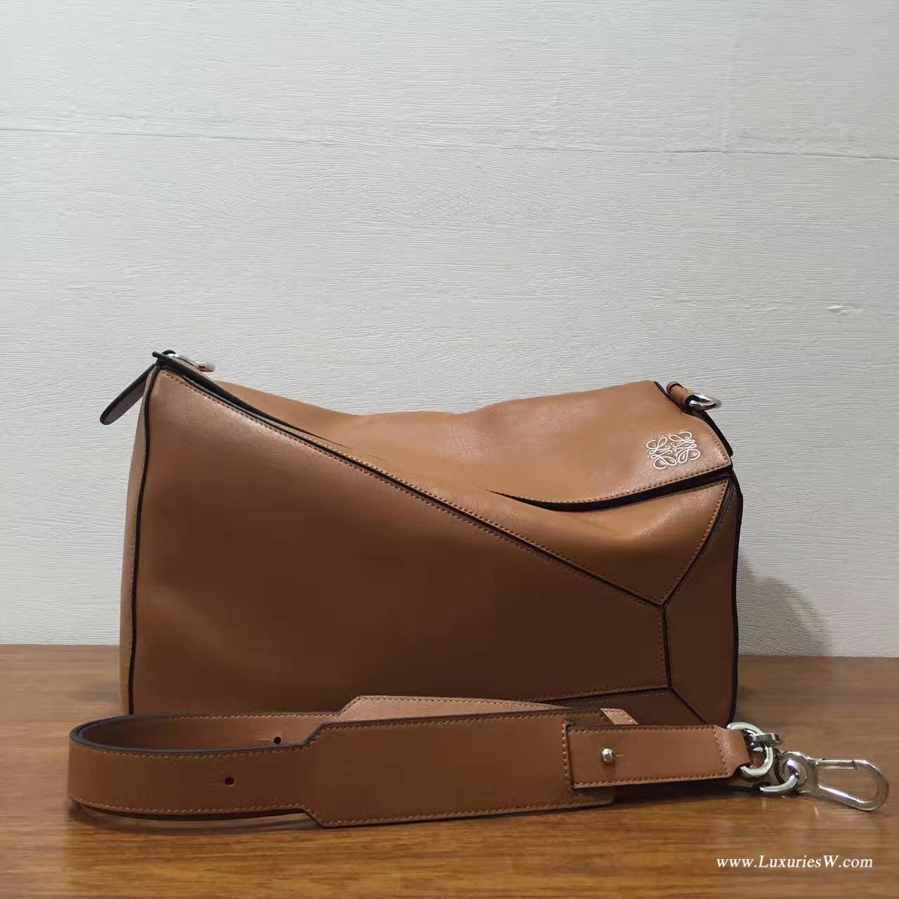 羅意威女包 LOEWE 特大號 Puzzle Bag 棕褐色 38cm長方體形狀 折疊幾何包
