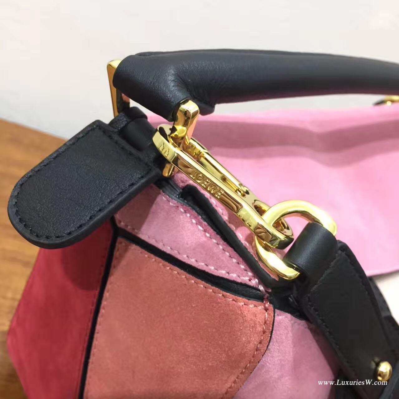 羅意威女包官網 LOEWE 中號 Puzzle Bag 磨砂粉色拼色 30cm折疊單肩手提幾何包
