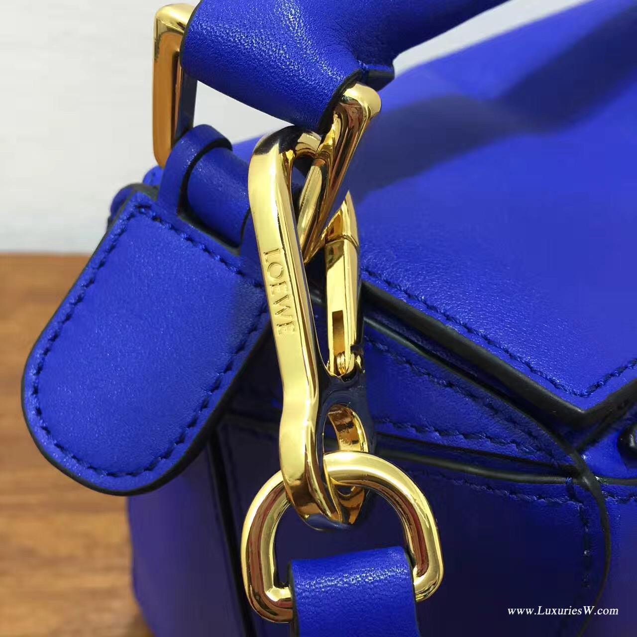 羅意威LOEWE 中號 Puzzle Bag 电光蓝色 30cm折疊單肩手提幾何包
