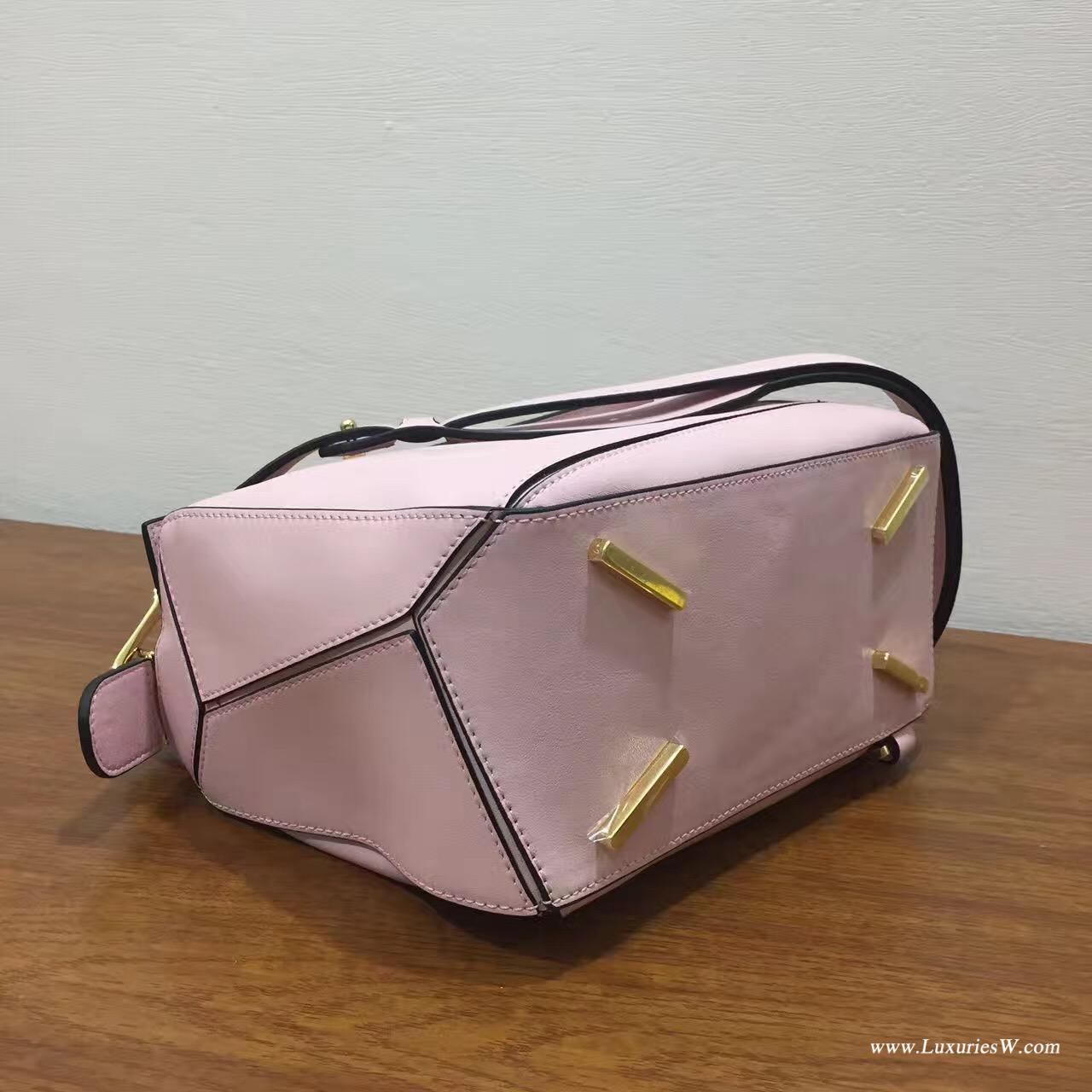 羅意威女包官網 LOEWE Mini Puzzle Bag 粉色 長方體形狀 折疊幾何包