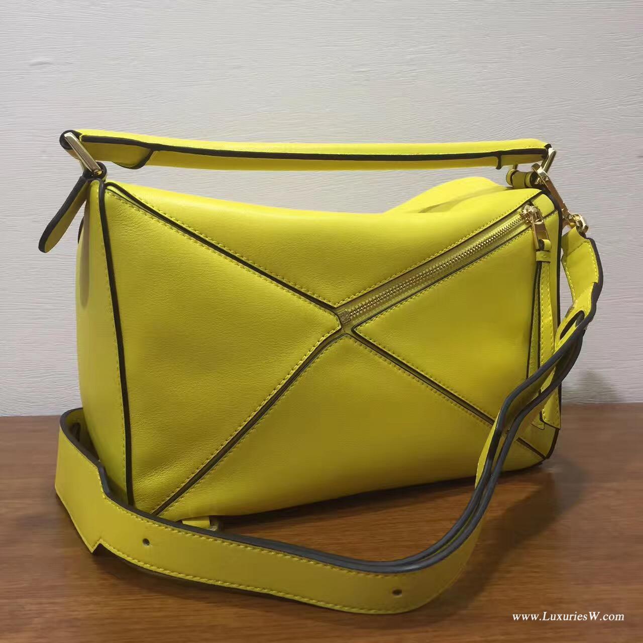 羅意威LOEWE包包 中號 Puzzle Bag 柠檬黄色 30cm折疊單肩手提幾何包