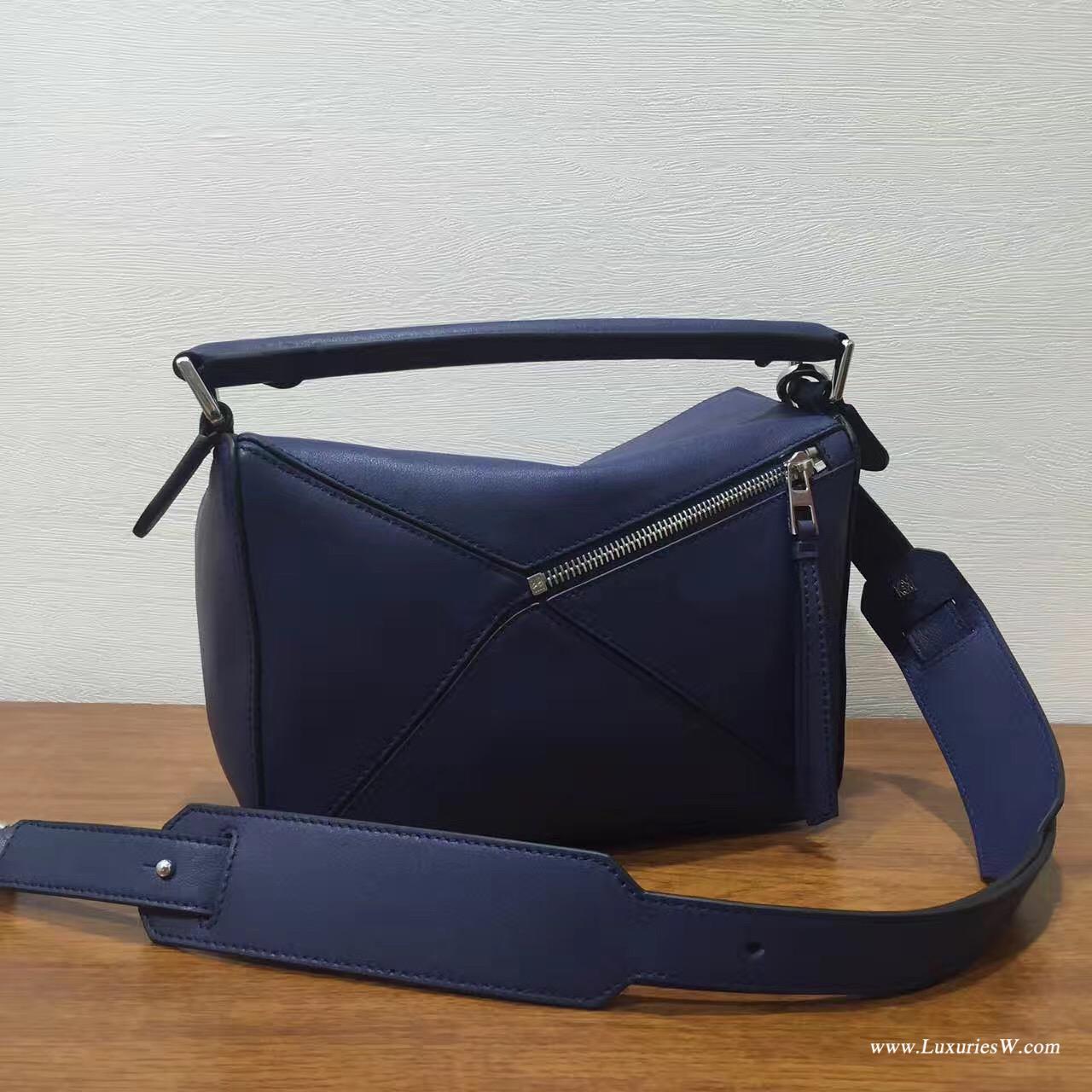 羅意威LOEWE包包 Mini Puzzle Bag 深蓝色 長方體形狀 折疊幾何包