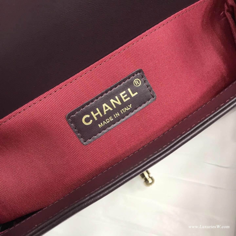 Leboy bag 25cm 深咖色暗紅色香檳金屬進口小羊皮單肩鏈條包