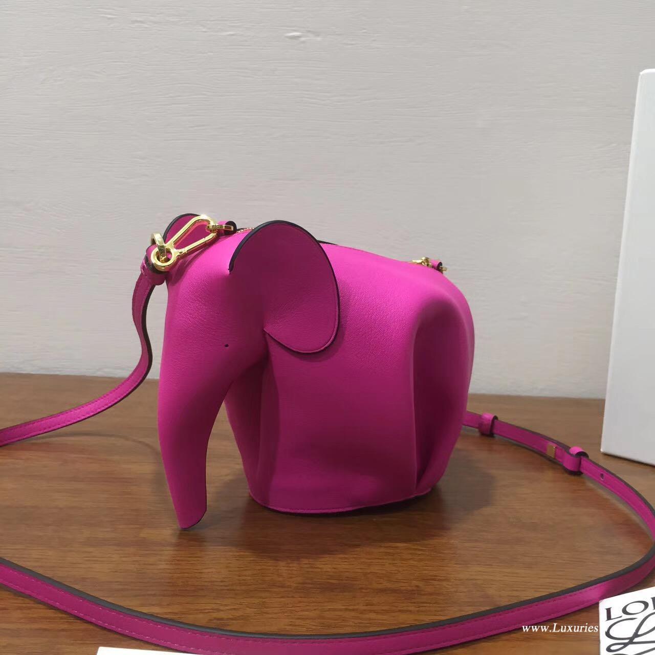 羅意威LOEWE女包 Animales Elephant Mini Bag 桃紅色小牛皮 迷妳包 大象包