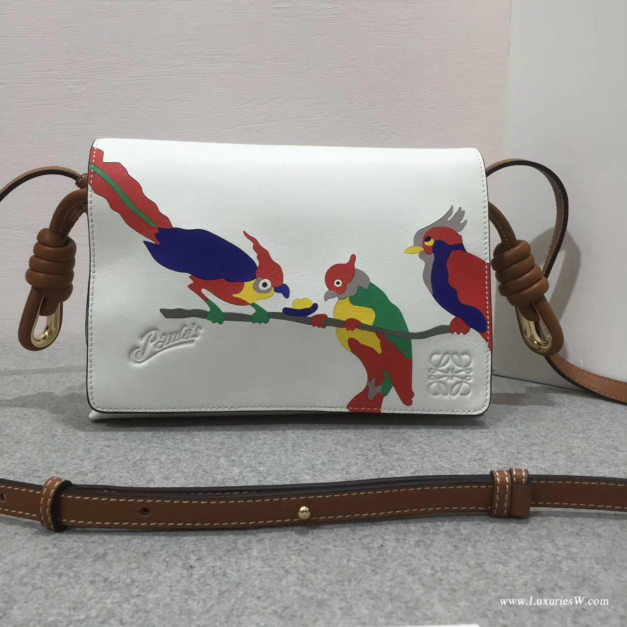 Loewe Flamenco  flap Paula's Ibl  s bag白色拼色小牛皮 印鸚鵡圖案