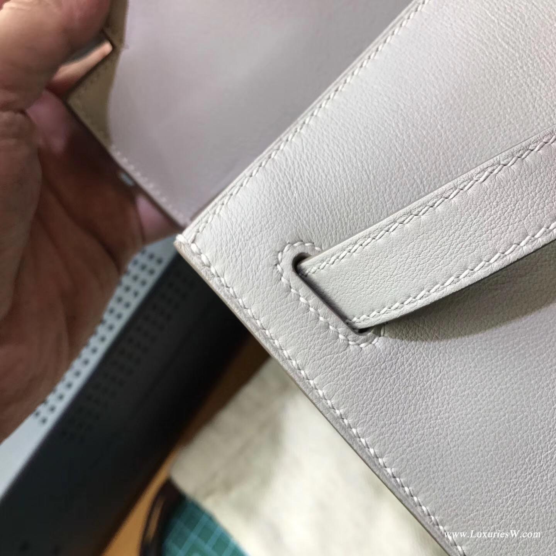 凱莉包Kelly 28 Evercolor CK80 Pearl Grey珍珠灰色 銀扣外縫