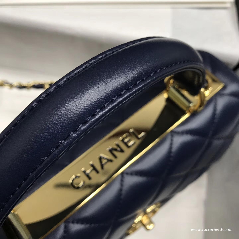 小香女包三折口蓋包 配手柄 Salzburg Bag 海軍藍色進口小羊皮 金色金屬