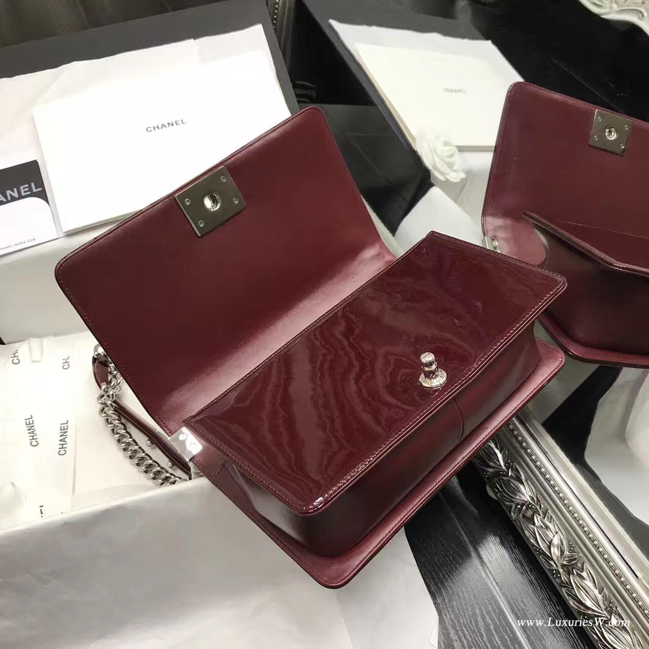 小香Le boy bag 25cm 暗紅酒紅色進口漆牛皮配小羊皮單肩鏈條包