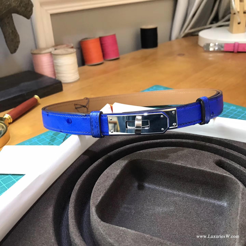 愛馬仕 kelly腰帶南非鴕鳥皮 7T Blue Electric電光藍銀扣