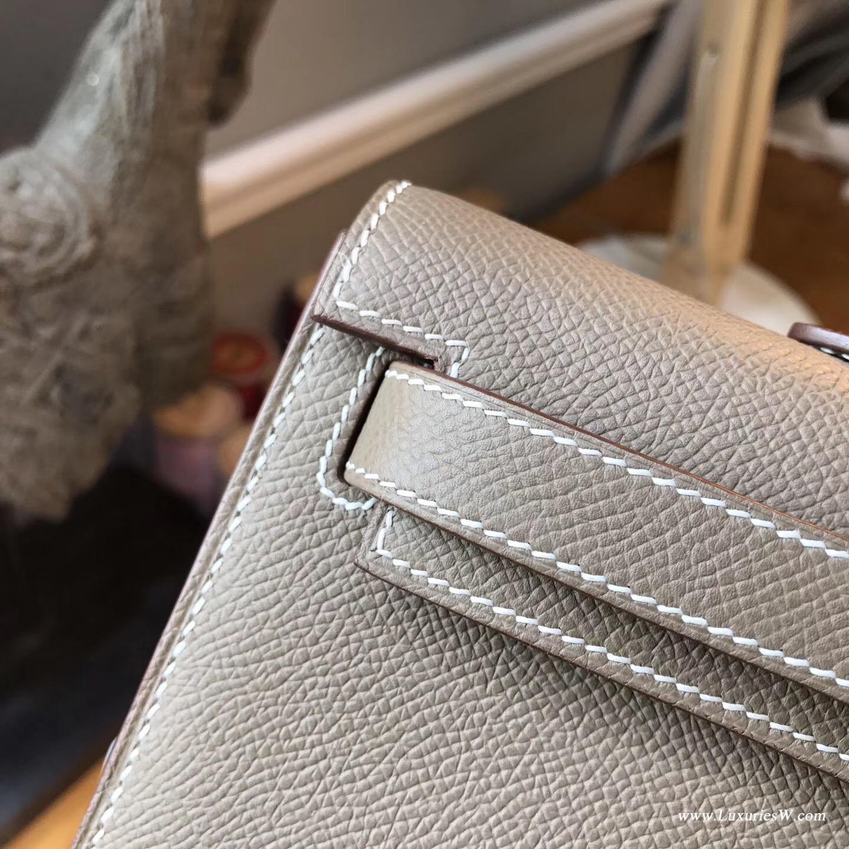 Hermes凱莉Kelly Cut Epsom CK18 Etoupe大象灰金扣金屬 宴會手包