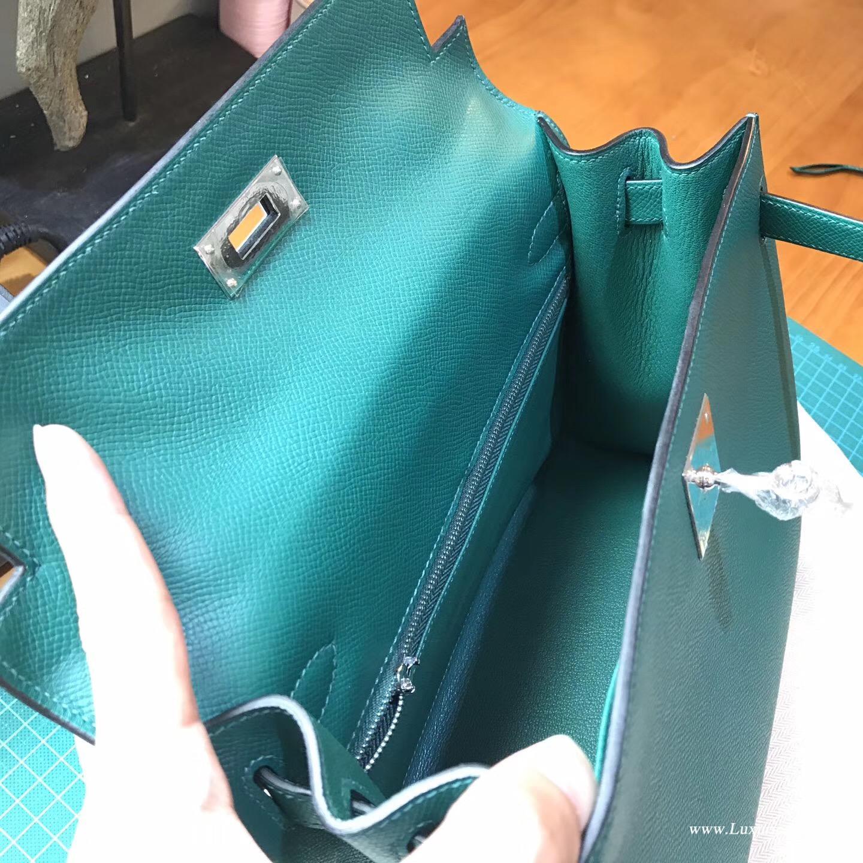 Kelly 28 Epsom Z6 Malachite 孔雀綠  外縫銀扣金屬五金