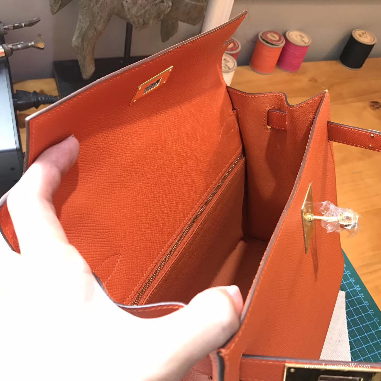 Kelly 28 Epsom 9J FEU 火焰橙 新橙色 外縫金扣金屬五金