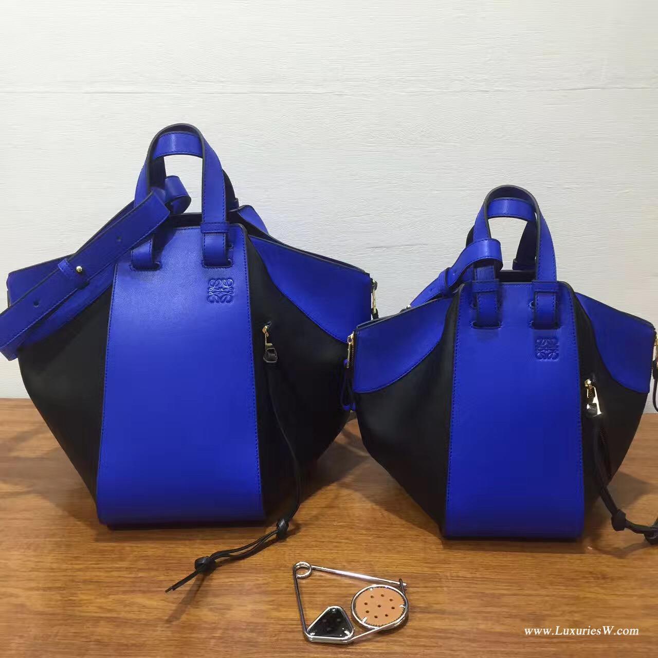 Loewe進口的柔軟小牛皮 Hammock Small Bag Electric Blue/Black