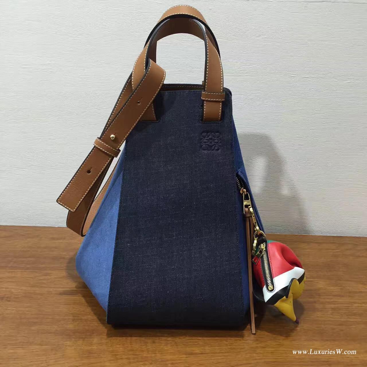 羅意威 Hammock bag 2017春夏 牛皮搭配牛仔拼接系列大號吊床包