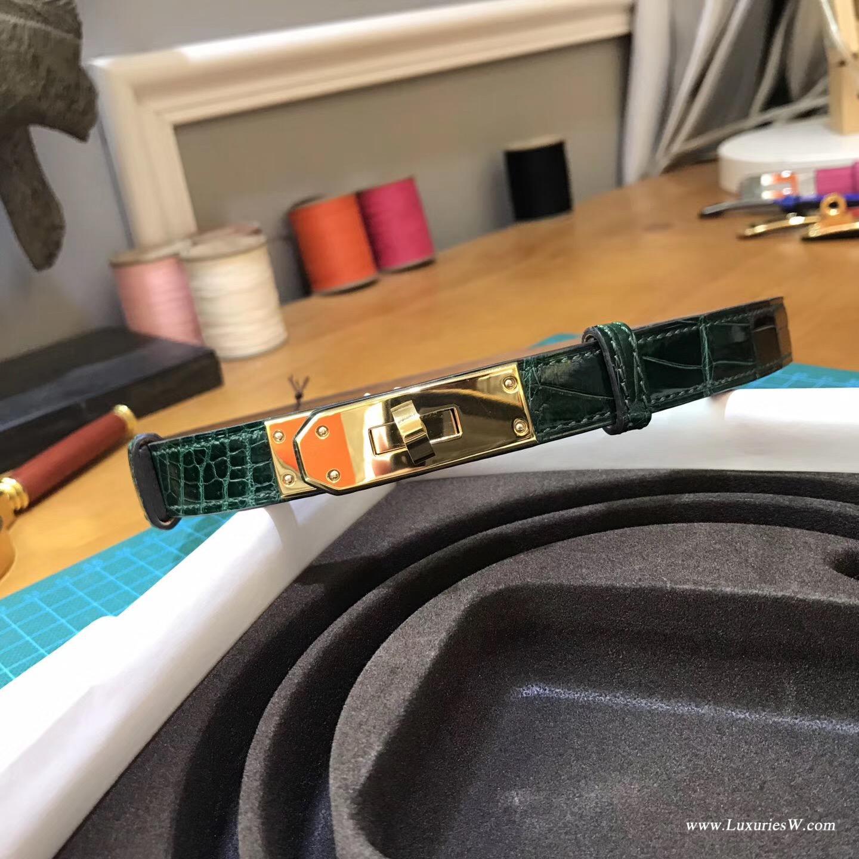 愛馬仕 Kelly 腰帶 鱷魚光面CK67 Vert Fonce祖母綠 金扣