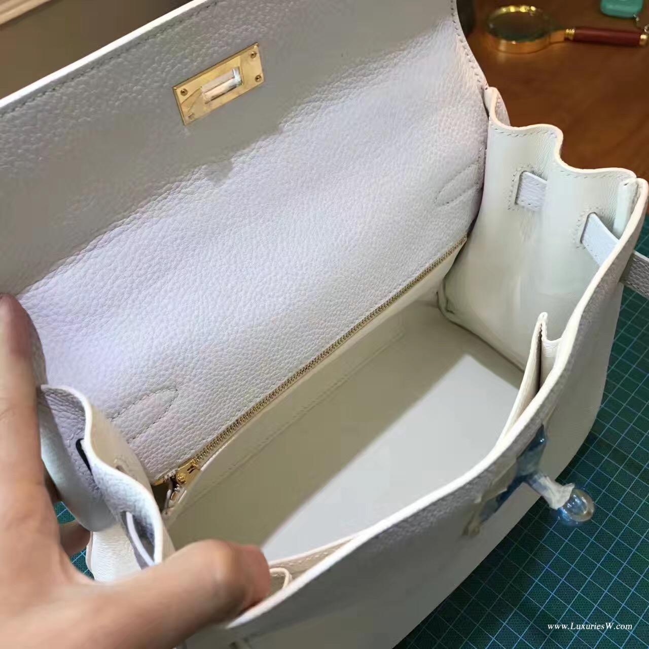 愛馬仕凱莉包 Kelly Bag 28cm togo Blanc 純白銀扣到貨