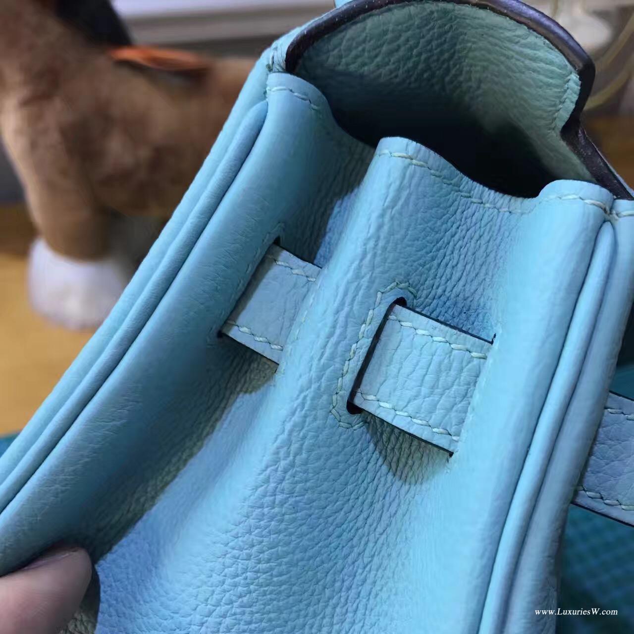 愛馬仕凱莉包 Kelly 28CM 3P Blue Atoll 馬卡龍藍金扣 粉嫩粉嫩的藍色