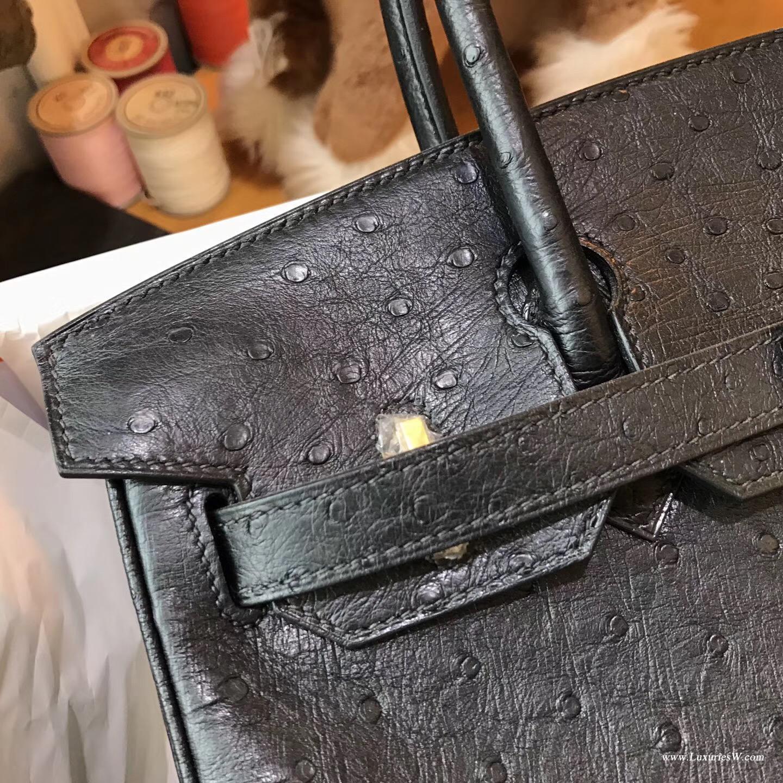 愛馬仕 鉑金包Hermes Birkin 30 鴕鳥 CK89 Nior黑色