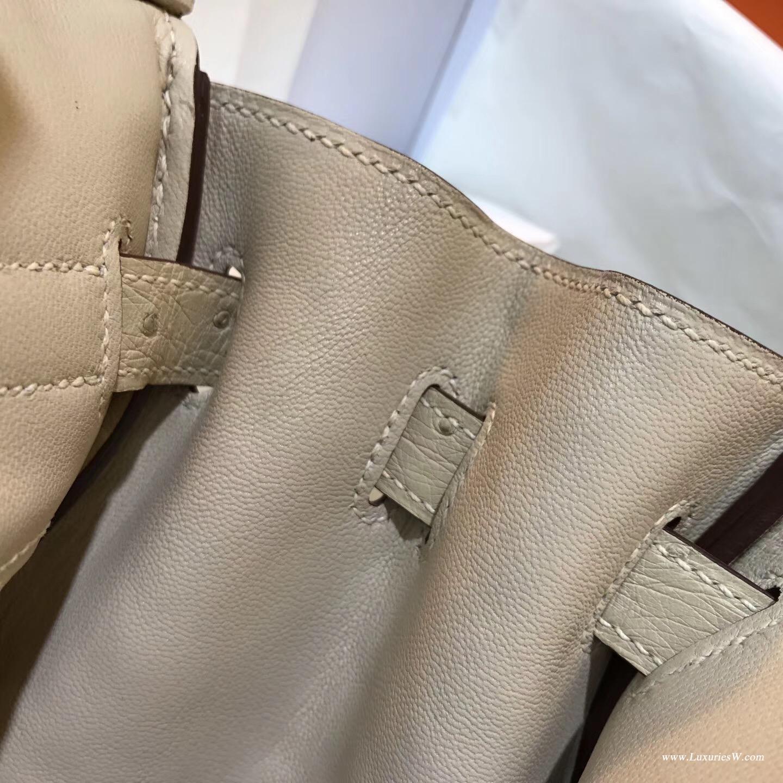 鉑金包 Hermes Birkin 30 鴕鳥 3C Parchemin 羊毛白名媛必備的顏色