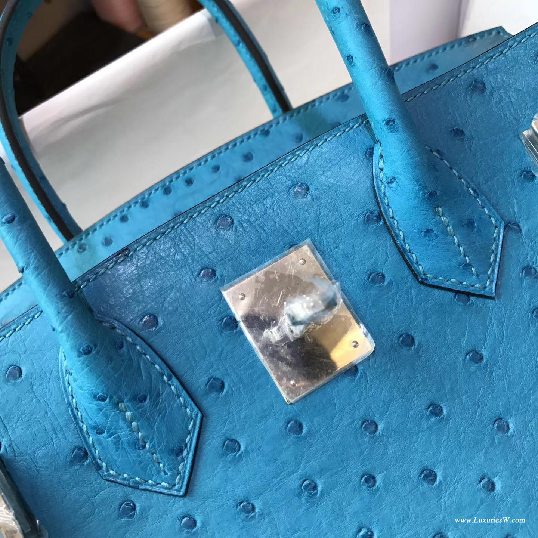 愛馬仕 鉑金包Hermes Birkin 30 鴕鳥 7C Cobalt珊瑚藍 銀扣