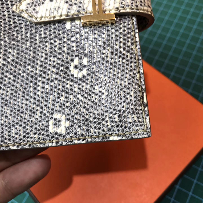 香港香港島中西區 Hermes Bearn 短款蜥蜴皮 兩折錢包 喜馬拉雅金扣