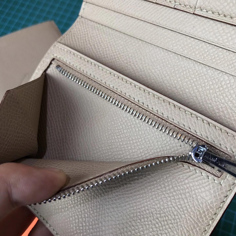香港東區 Hermes Bearn短款 Epsom兩折錢包 S2 Trench 風衣灰銀扣