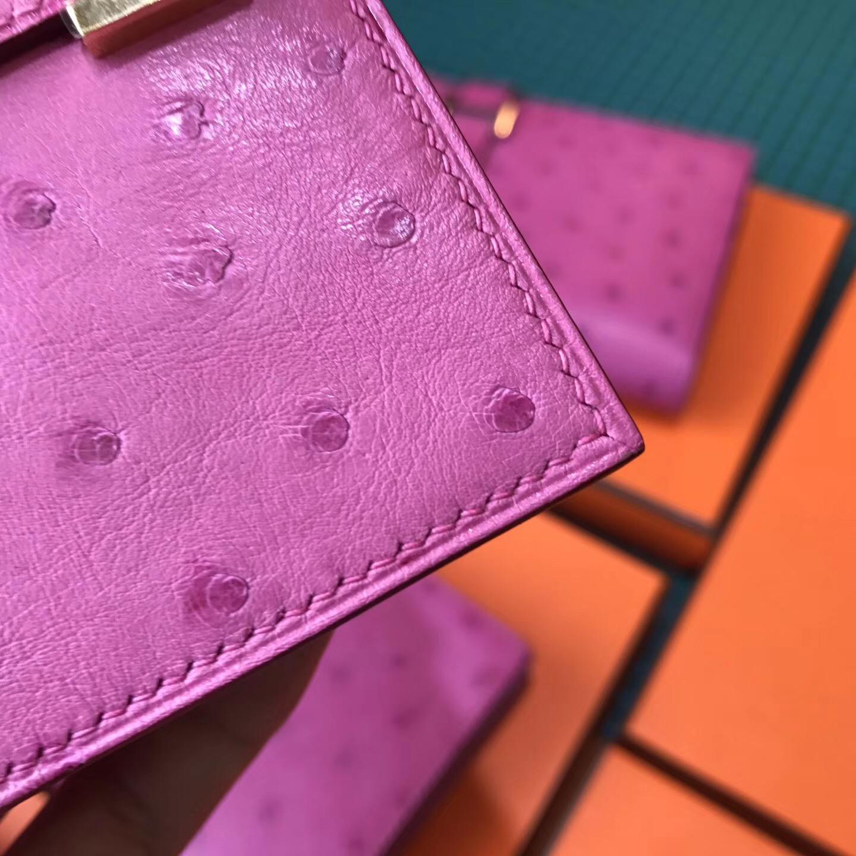 香港深水埗區 Hermes Bearn短款式 鴕鳥皮E5 Rose Tyrien 糖果粉 金色 金屬扣