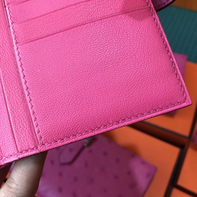 香港灣仔區铜锣湾 Hermes Bearn短款式 鴕鳥皮E5 Rose Tyrien 糖果粉 銀色