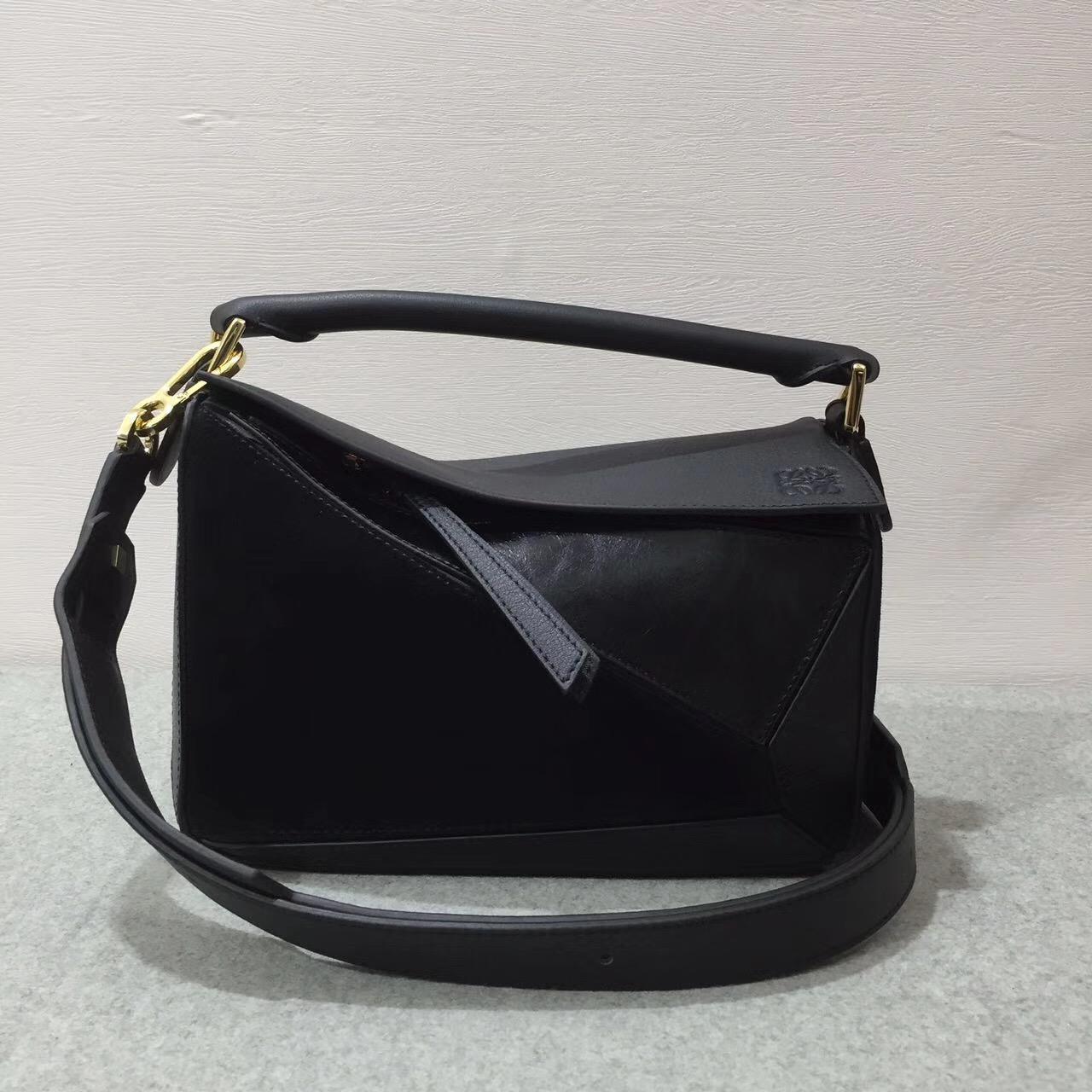 LOEWE女包迷妳小號 Puzzle Bag 黑色 采用進口西班牙不同小牛皮質拼接