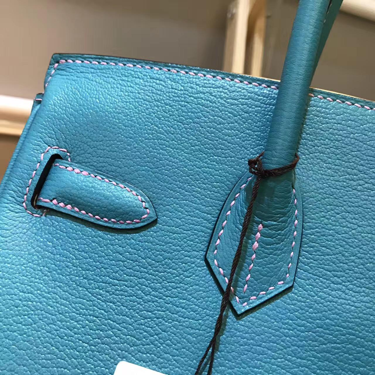 愛馬仕鉑金包 Hermes birkin Bag 30cm 超美的藍綠混合色 金扣金屬