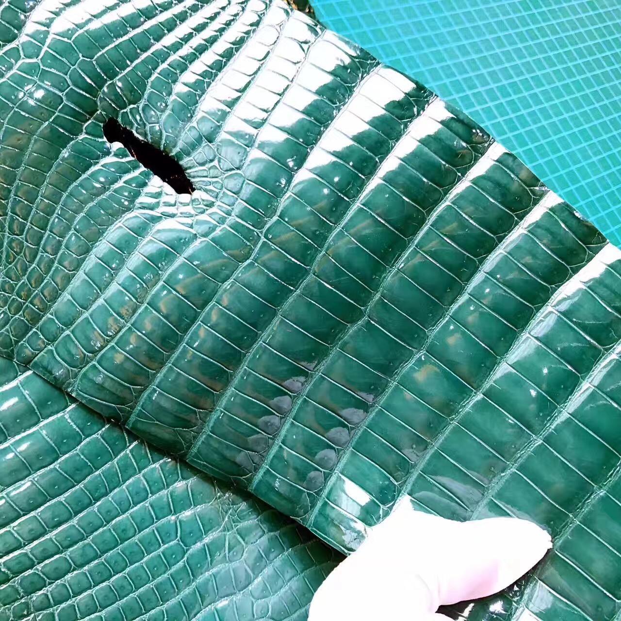 愛馬仕光面鱷魚皮 英國綠新色 2Q Vert anglais
