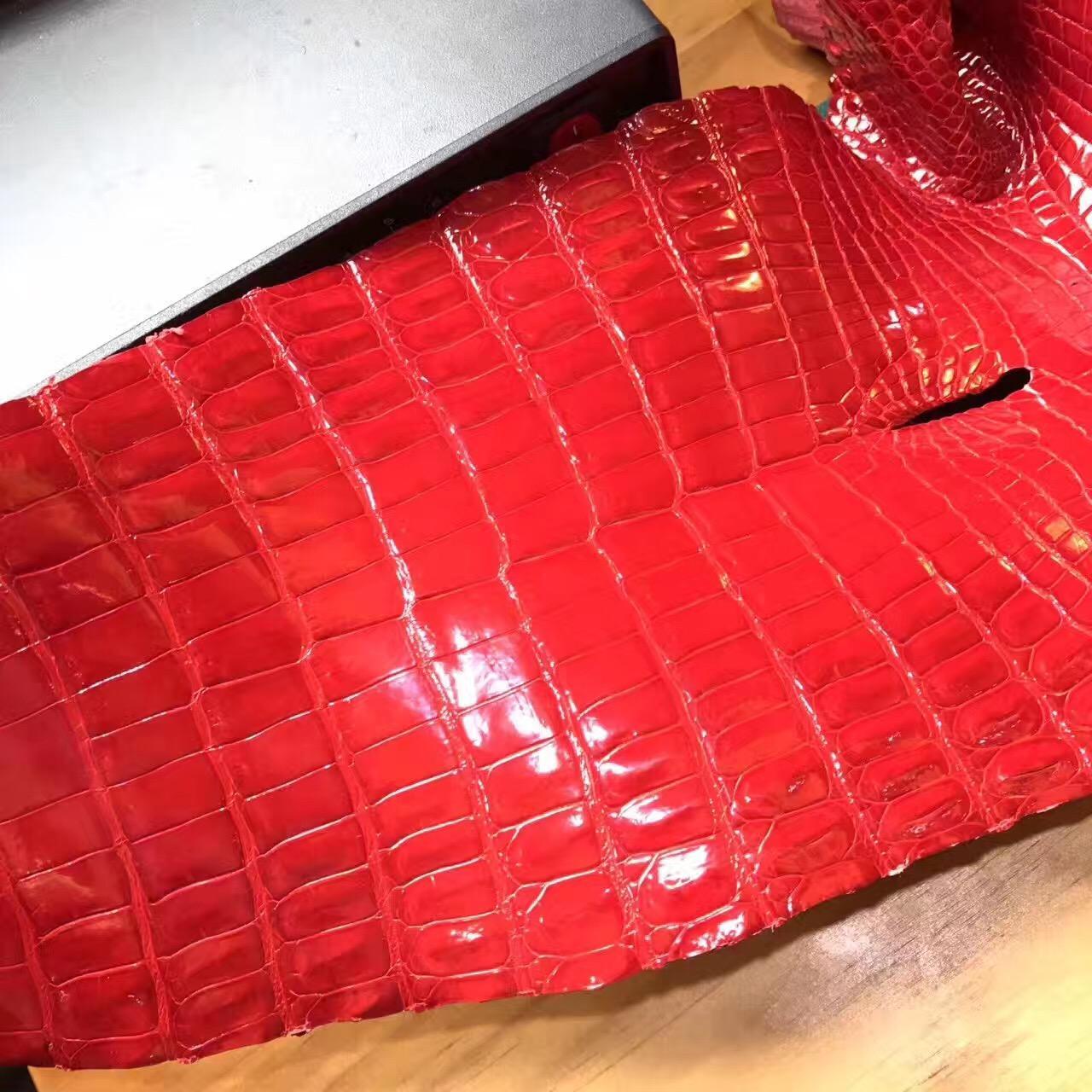 新鮮愛馬仕光面鱷魚皮 皮料 CK95 Rouge Braise 法拉利紅 鱷魚皮